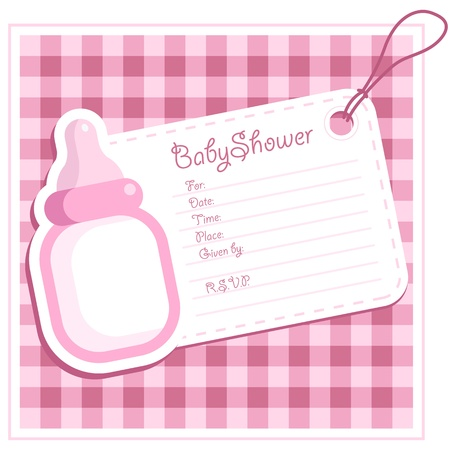 baby girl: Baby Girl Shower Bottle Invitation Card Illustration