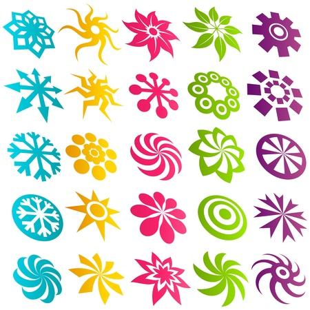 Kleurrijke Element Pictogrammen Stock Illustratie