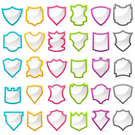 Colorful Shield Collection Vector
