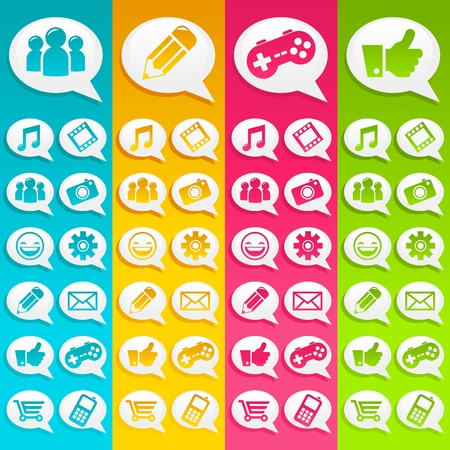 Speech Bubble Social Media Icons Vector