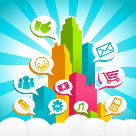 poblacion: Ciudad de r�faga de colores con iconos de redes sociales Vectores