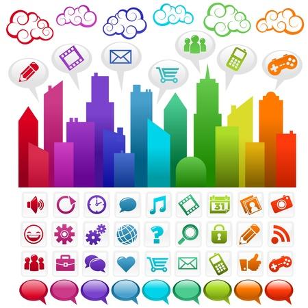 interaccion social: Ciudad de colores con los iconos de los medios de comunicaci�n social