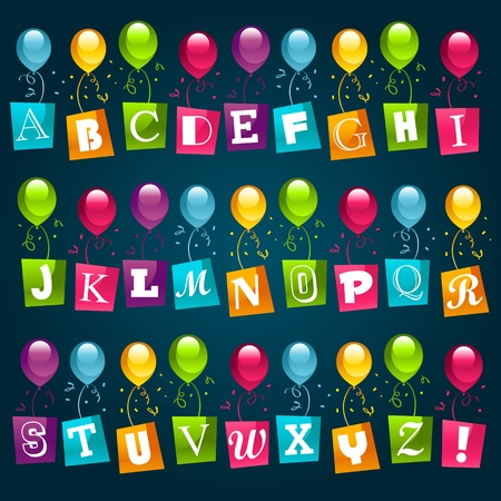 children s: Party Alphabet with Balloons