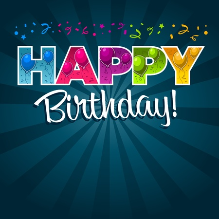 happy birthday party: Tarjeta de cumplea�os feliz Vectores
