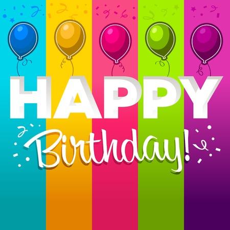 felicitaciones de cumplea�os: Feliz cumplea�os con globos de colores Vectores