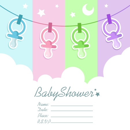 pacifier: Baby Shower Invitation Card with Clouds and Pacifiers