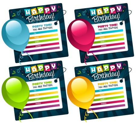 birthday party kids: Mini Birthday Invitation cards Illustration