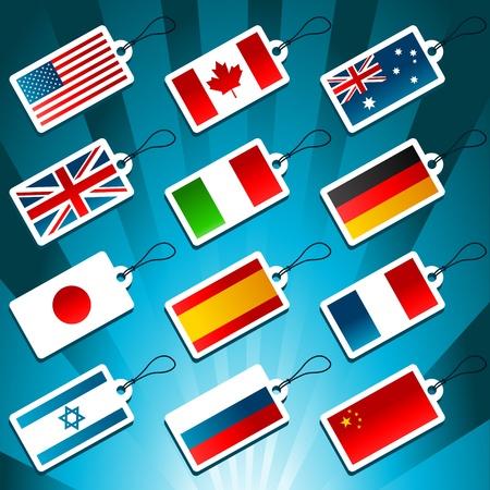 bandera rusia: Etiquetas que representan Banderas del mundo Vectores