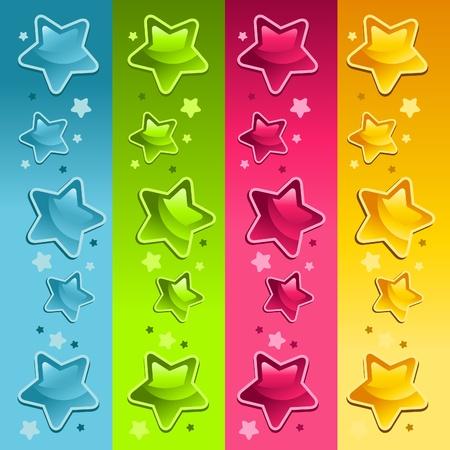 birthday party kids: Border Set of Colorful Shiny Stars Illustration