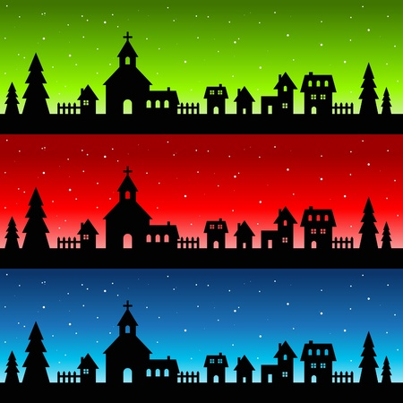 Silhouette Christmas Village Vector