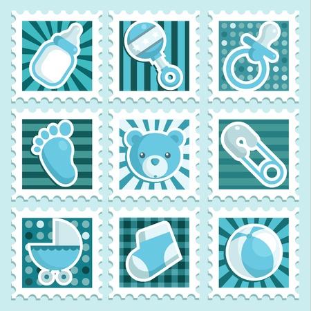 Blue Baby Shower Postzegels Stock Illustratie