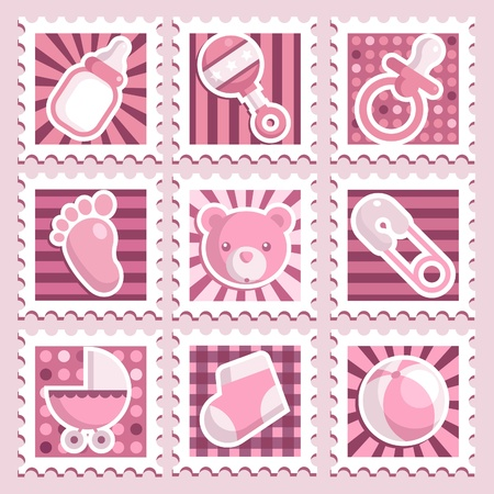 Pink Baby Shower Stamps Vector