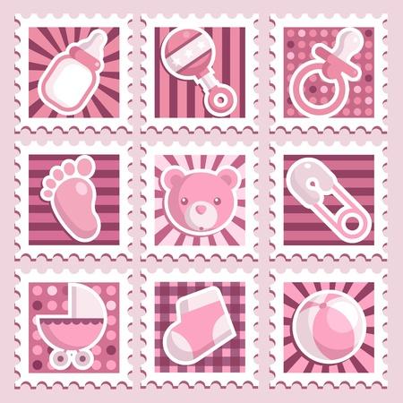 Pink Baby Shower Stamps Illustration