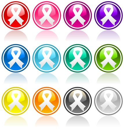 ovarian cancer: Set of Awareness Button Ribbons.