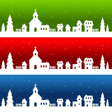 White Silhouette Christmas Village Vector