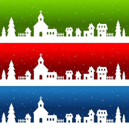White Silhouette Christmas Village