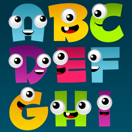 Cartoon Alphabet Set 1  Vector