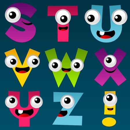 educativo: Alfabeto de dibujos animados Set 3 Vectores