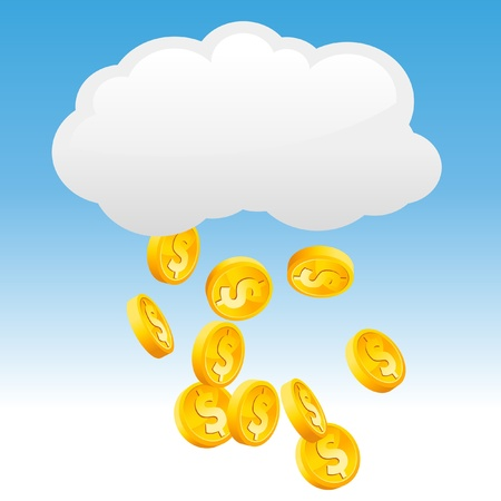 raining: Raining Gold Coins. Illustration