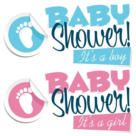 girls feet: Baby shower invitation greeting card Illustration