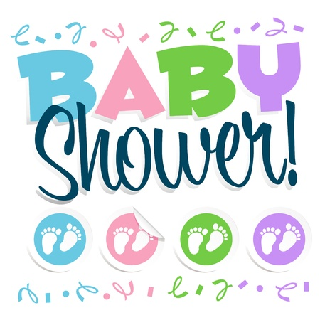 baby boy shower: Baby shower invitation greeting card Illustration