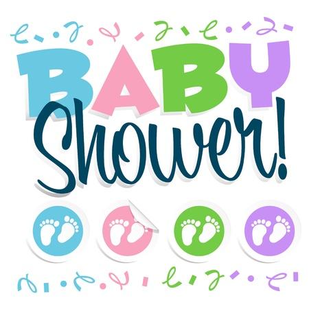 Boys Foot: Baby Shower Invitation Greeting Card Illustration
