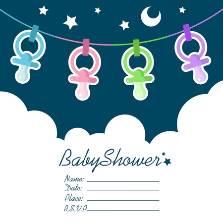 cute baby girls: Baby shower invitation greeting card Illustration