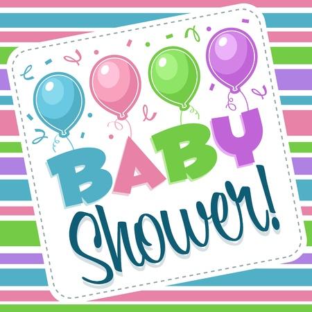 Baby shower invitation greeting card Illustration