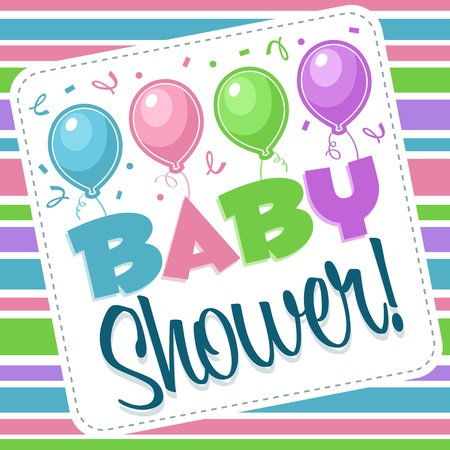 baby blue: Baby shower invitation greeting card Illustration