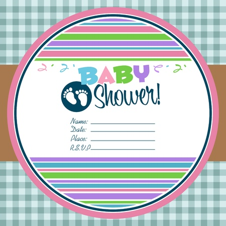 Baby shower invitation greeting card Vettoriali