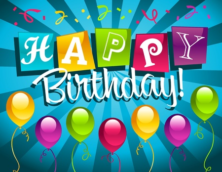 auguri di buon compleanno: Buon compleanno biglietto di auguri Vettoriali