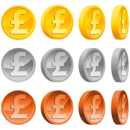 silver coins: Set of silver, copper and gold pound coins.
