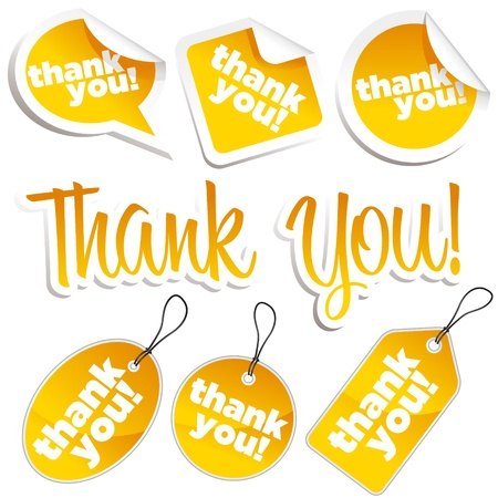 Set of thank you stickers and tags