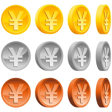token: Set of silver, copper and gold yen coins. Illustration
