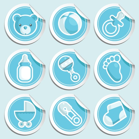 pacifiers: Blue Baby Shower Stickers
