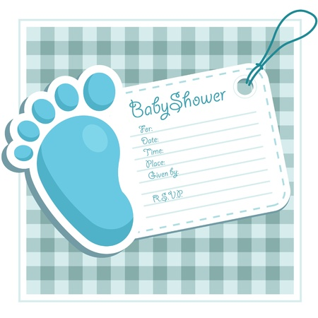 baby boy shower: Blue Baby Shower Invitation Illustration