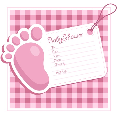 Pink Baby Shower Invitation Vector