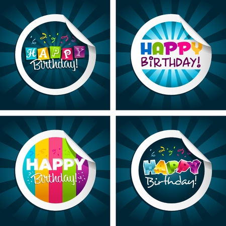 Happy Birthday Stickers Stock Vector - 11976400