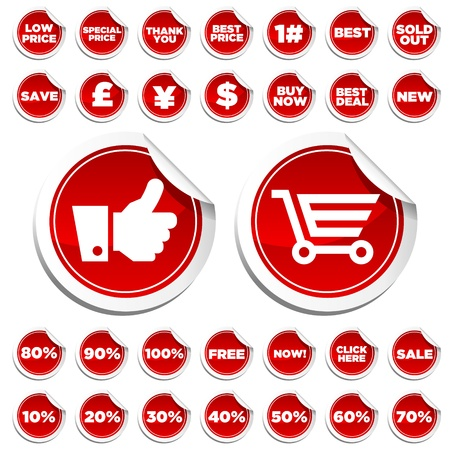 Sale and Shopping Stickers Vector