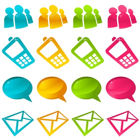 cell phone icon: Sparkly Social Media Icons Illustration