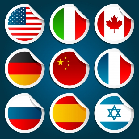 World Flag Stickers Stock Vector - 11976396