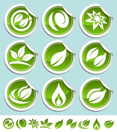 Vector conjunto de etiquetas ecológicas verdes brillantes