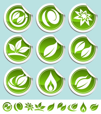Vector set of green shiny eco stickers  Vector
