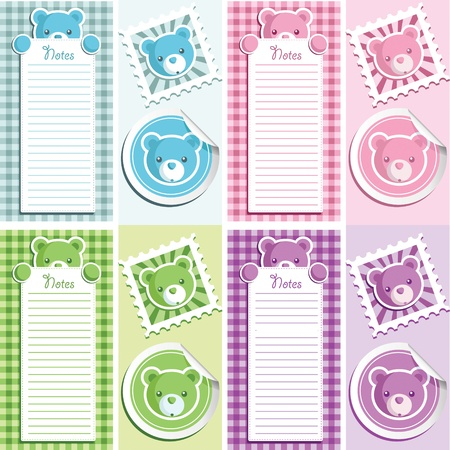 note paper: Cute scrapbook baby shower design elements