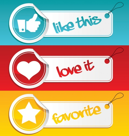 design media love: Set of like, love and favorite tags   Illustration