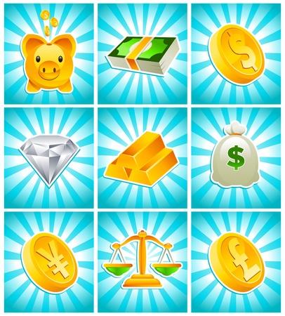 geld: Goud, geld en financiële iconen Stock Illustratie