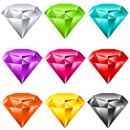ベクトルは、カラフルな光沢のある宝石の設定  イラスト・ベクター素材