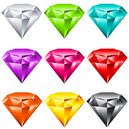 diamond stones: Vector set of colorful shiny jewels