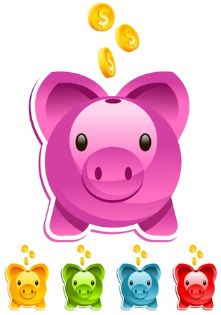 Vector piggy bank with gold dollar coins