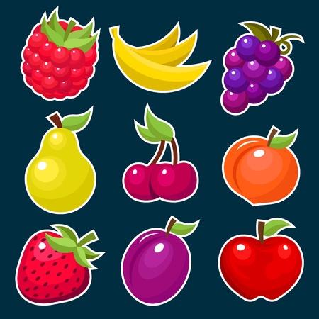 복숭아: 다채로운 과일 아이콘 벡터 설정 일러스트